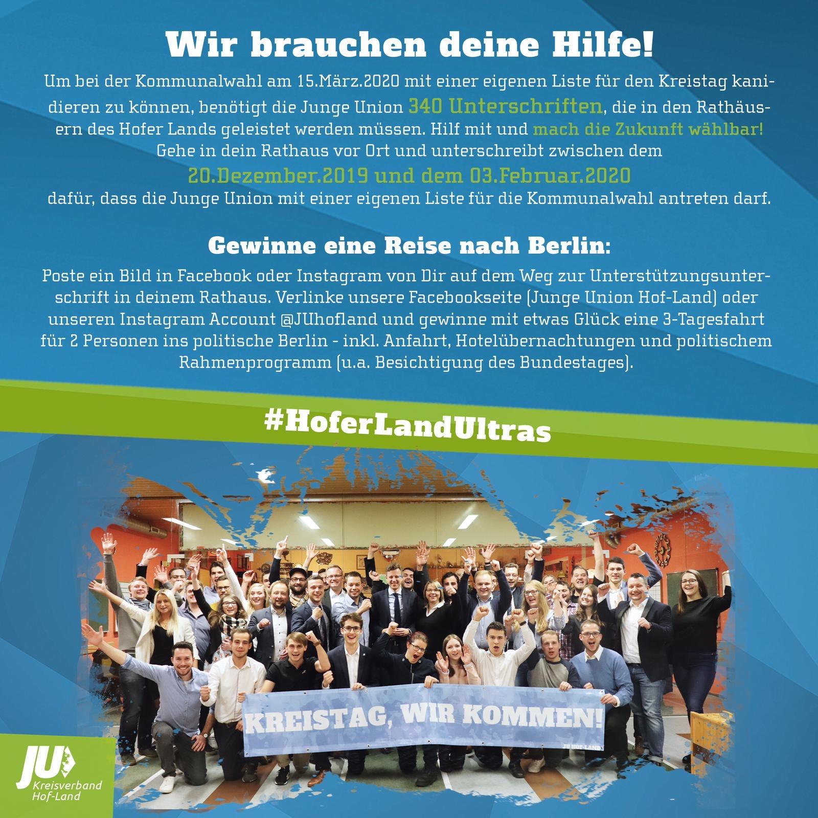 Gewinnspiel Unterschriftenaktion - Junge Union Hof-Land Liste